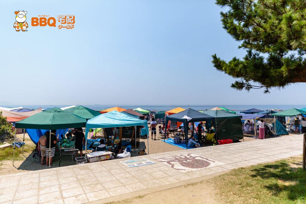 林崎松江海岸東側BBQエリアの様子