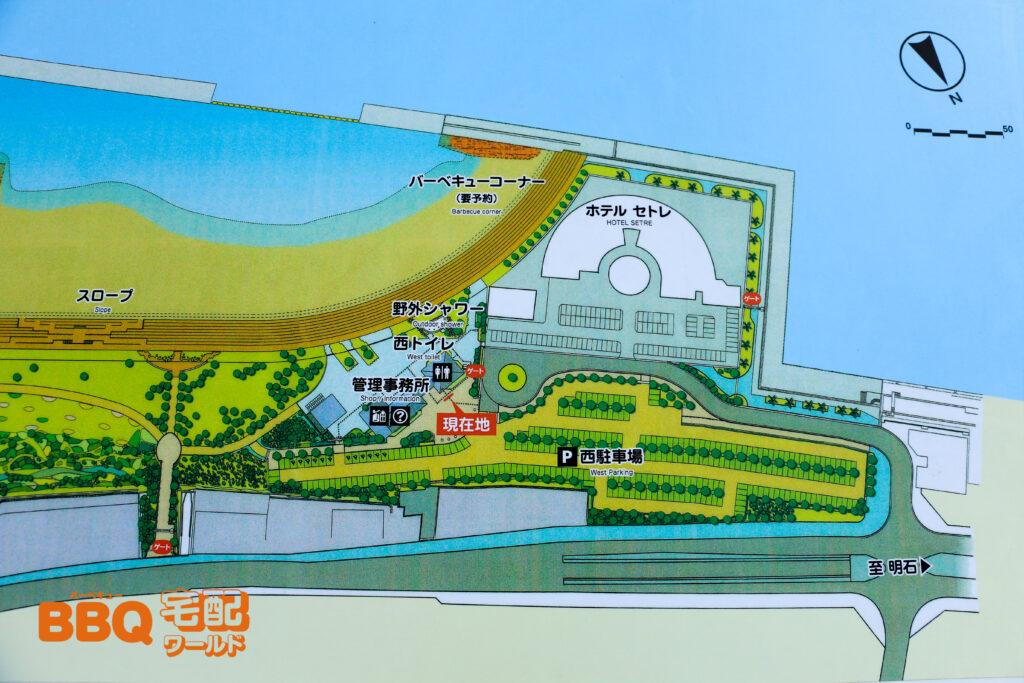 アジュール舞子BBQエリアの地図
