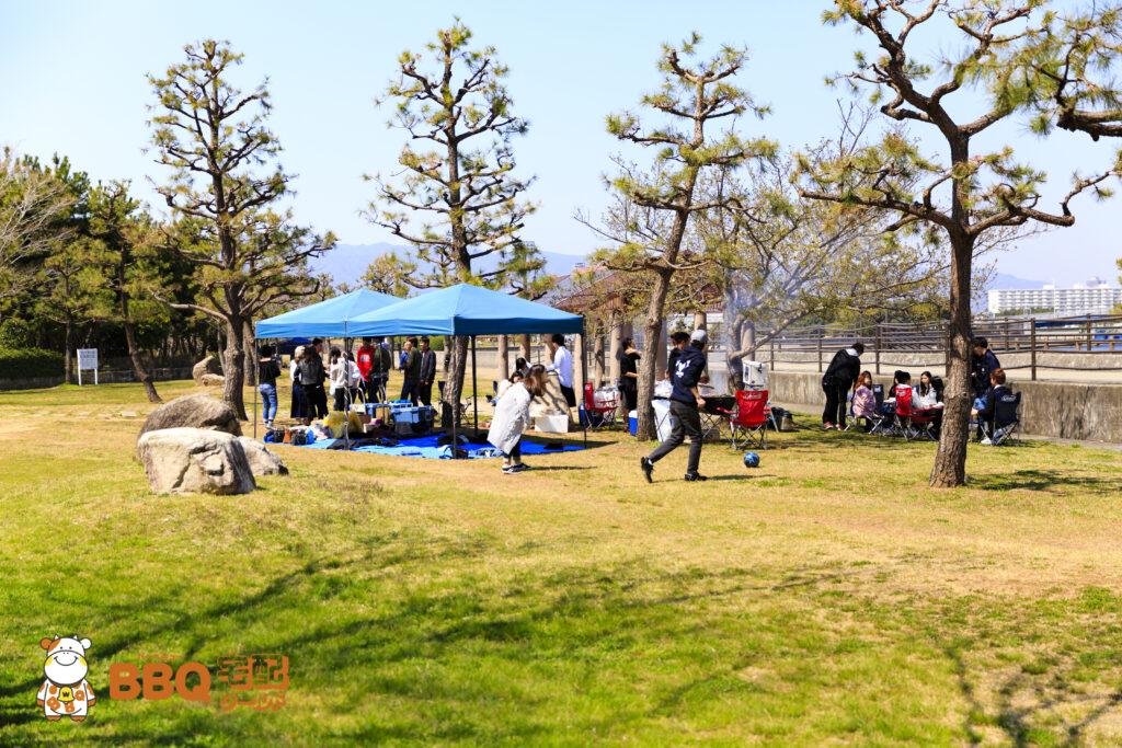 甲子園浜海浜公園BBQエリア中間地点