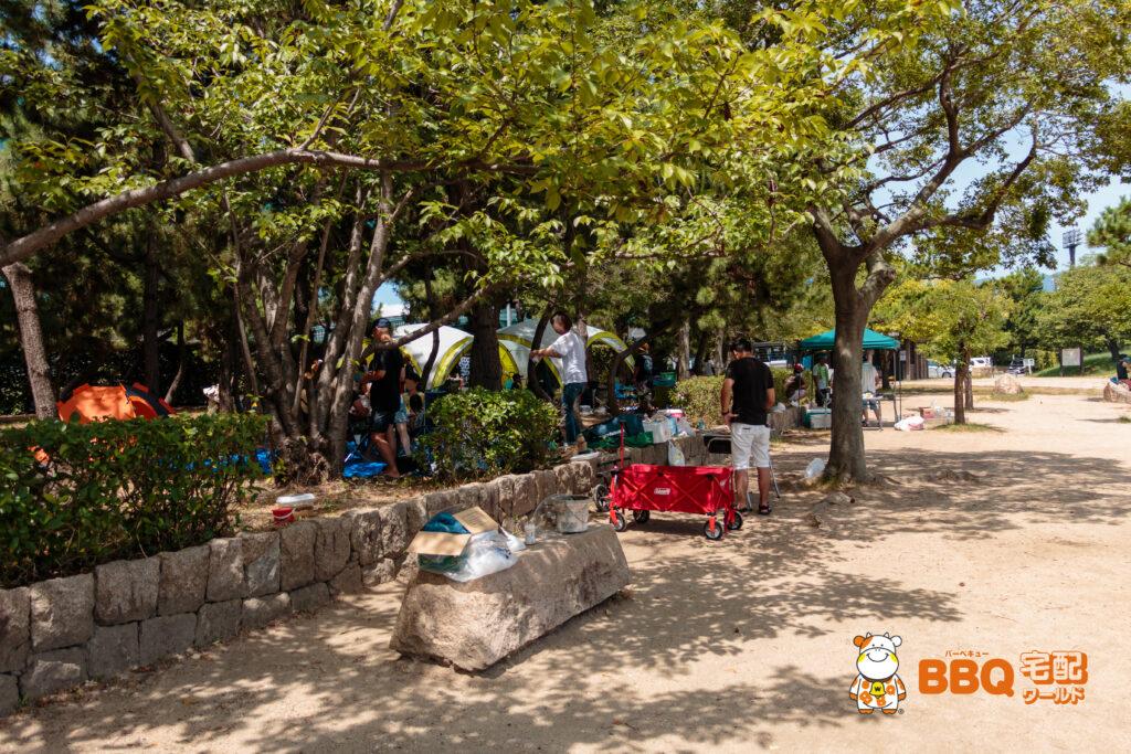 甲子園浜の森の中はBBQ禁止