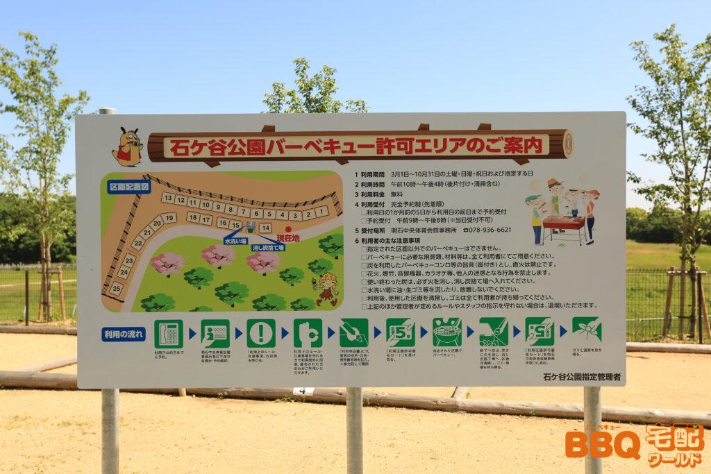 石ヶ谷公園BBQエリアの案内と区画配置図