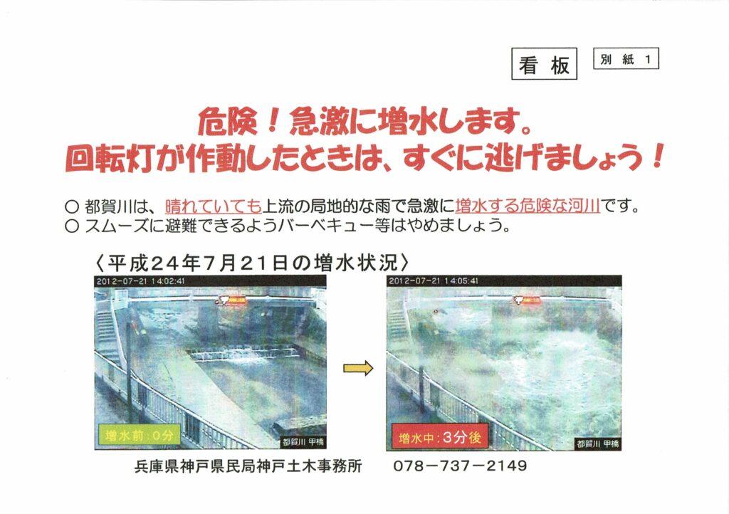 都賀川の急激な増水状況チラシ