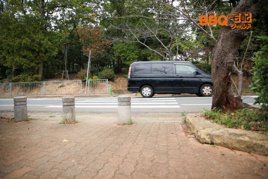 日岡山公園第1駐車場付近の横断歩道