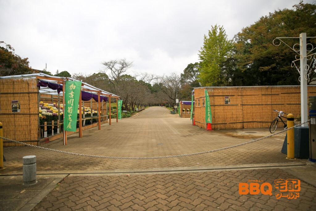 日岡山公園入口からBBQエリア