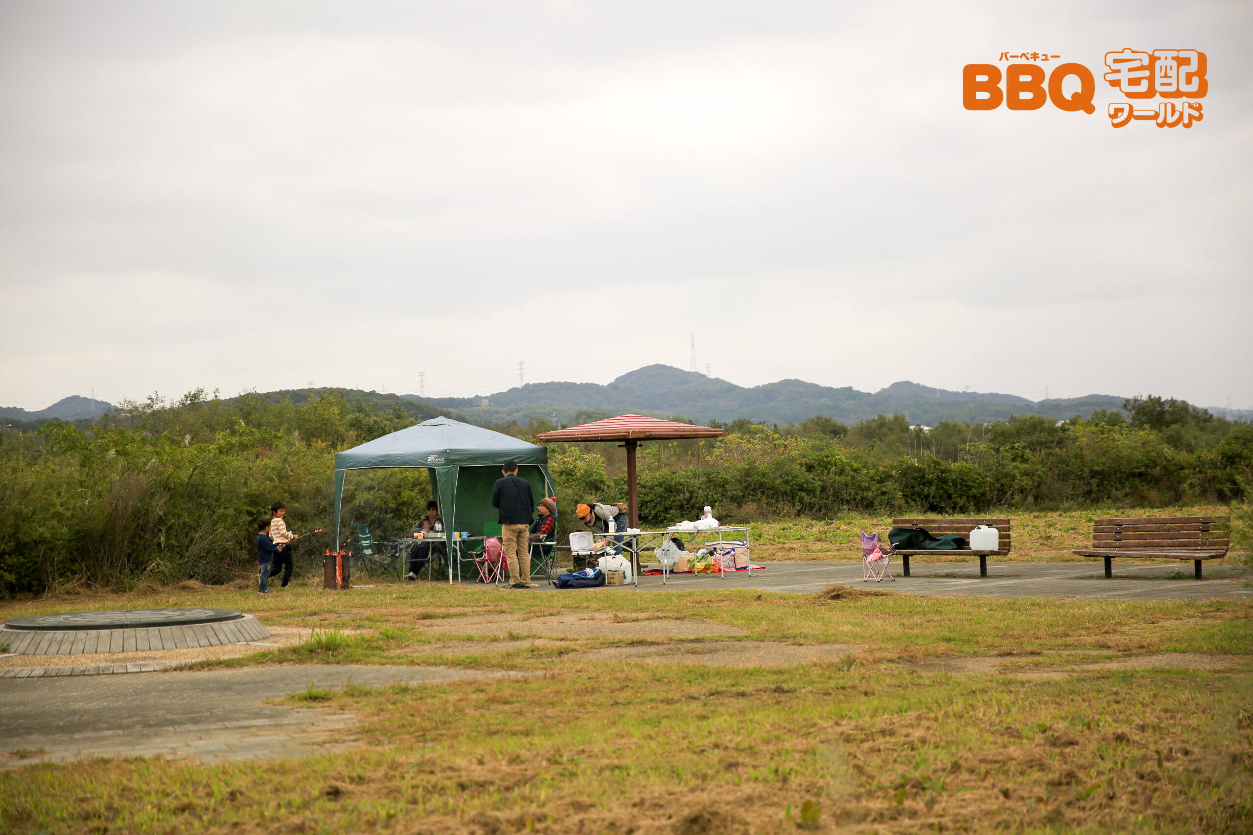 加古川河川敷緑地新神野地区BBQの様子