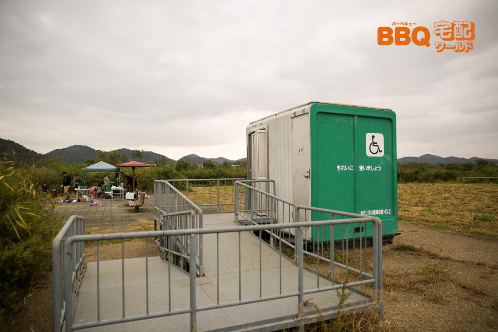加古川河川敷緑地新神野地区BBQエリアのトイレ