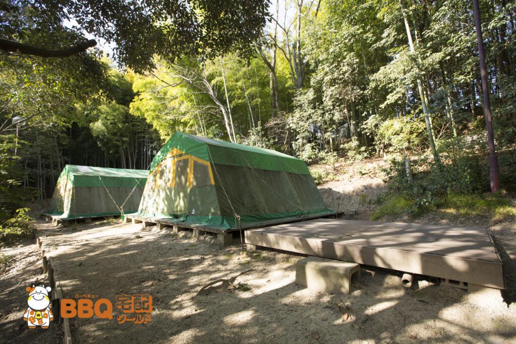 吹田市わくわくの郷わんぱくサイトの常設テント