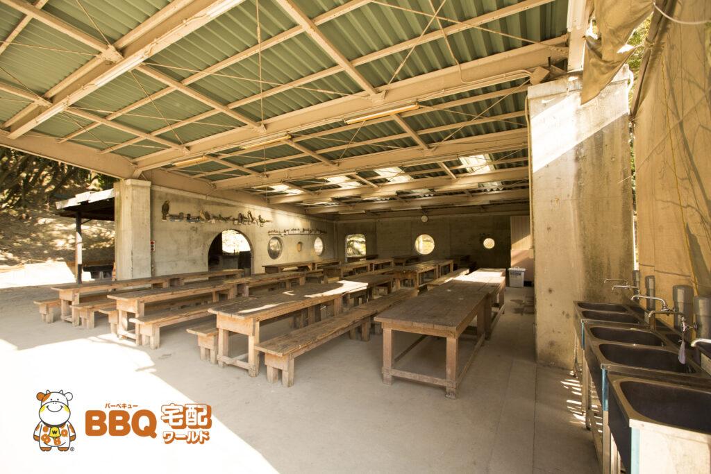 吹田市わくわくの郷の野外食堂全景