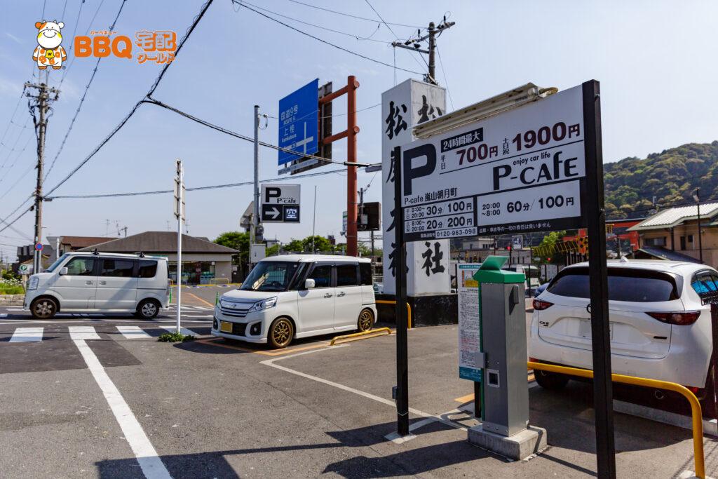 桂川松尾橋BBQ場横のPカフェ駐車場
