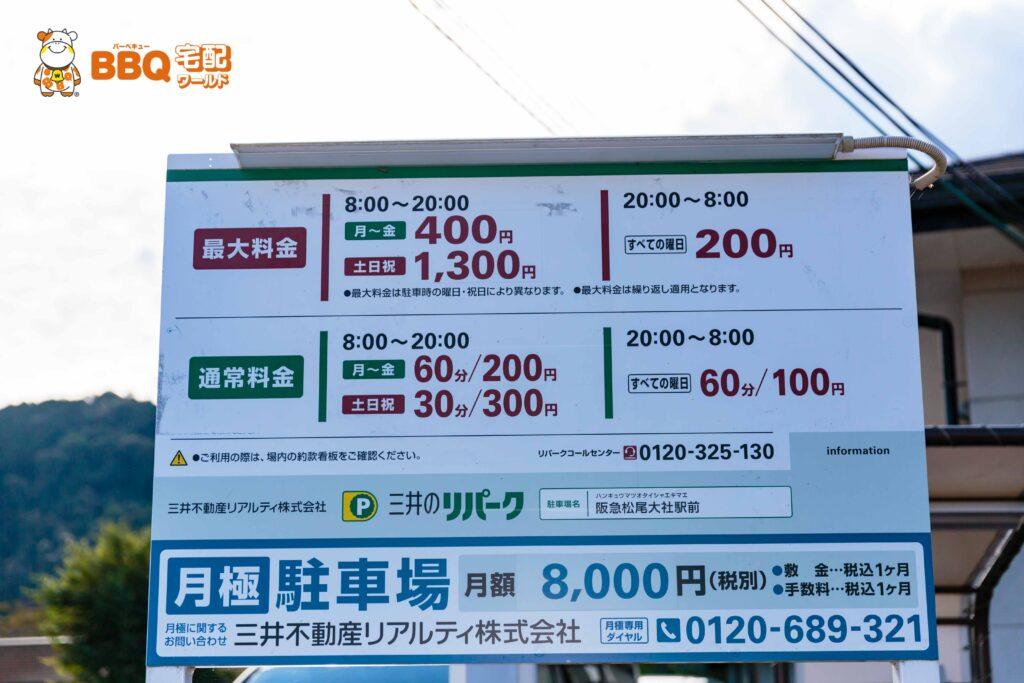 松尾橋BBQ場横の三井のリパーク駐車場料金