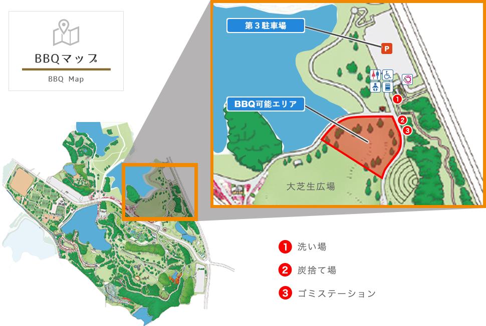 蜻蛉池公園BBQマップ