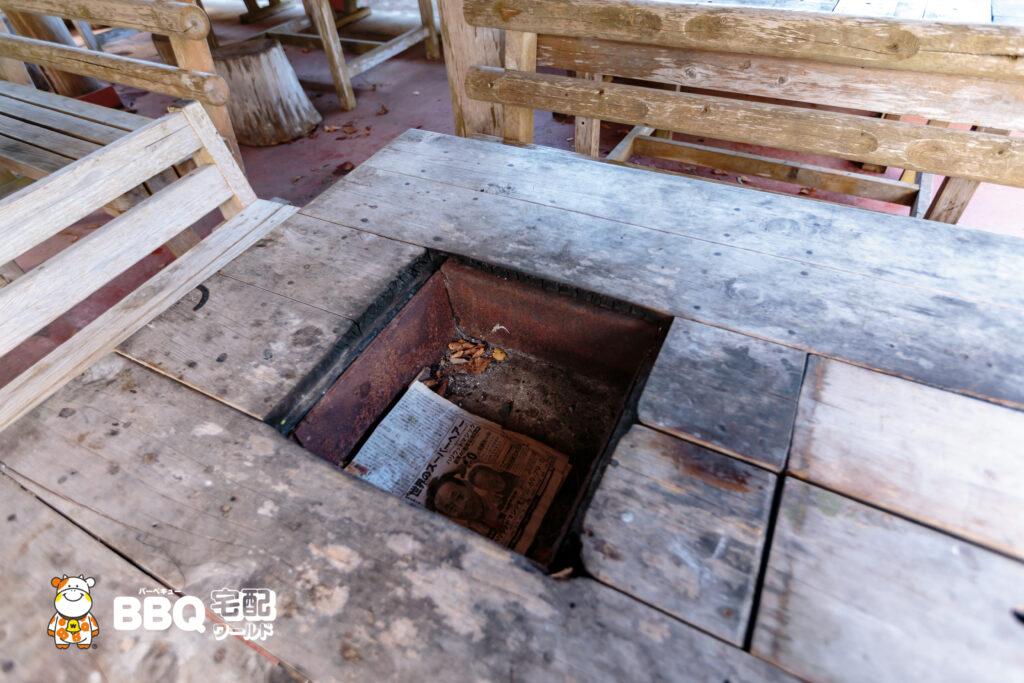 小口自然の家BBQ施設の炉