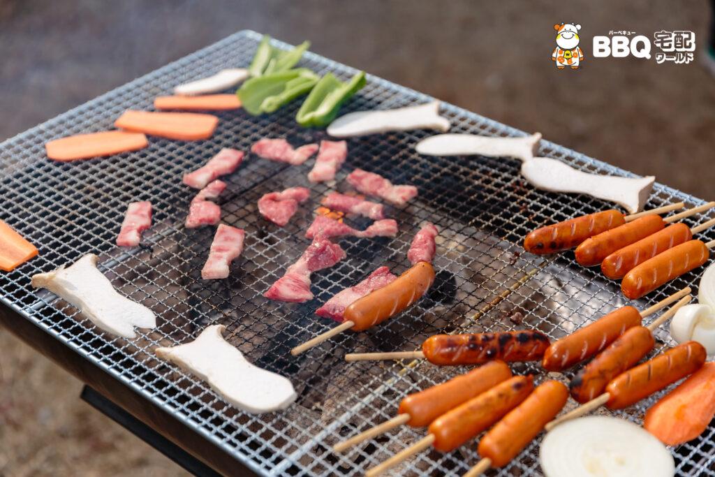 助松公園BBQの肉、野菜