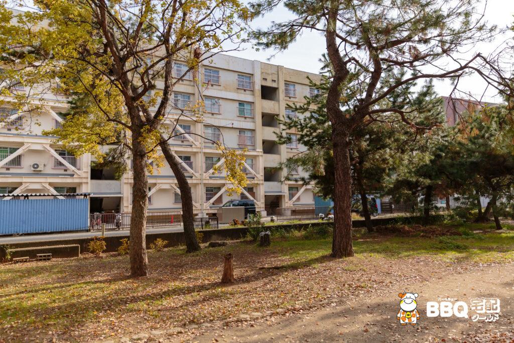 助松公園の市営住宅の西側BBQエリア