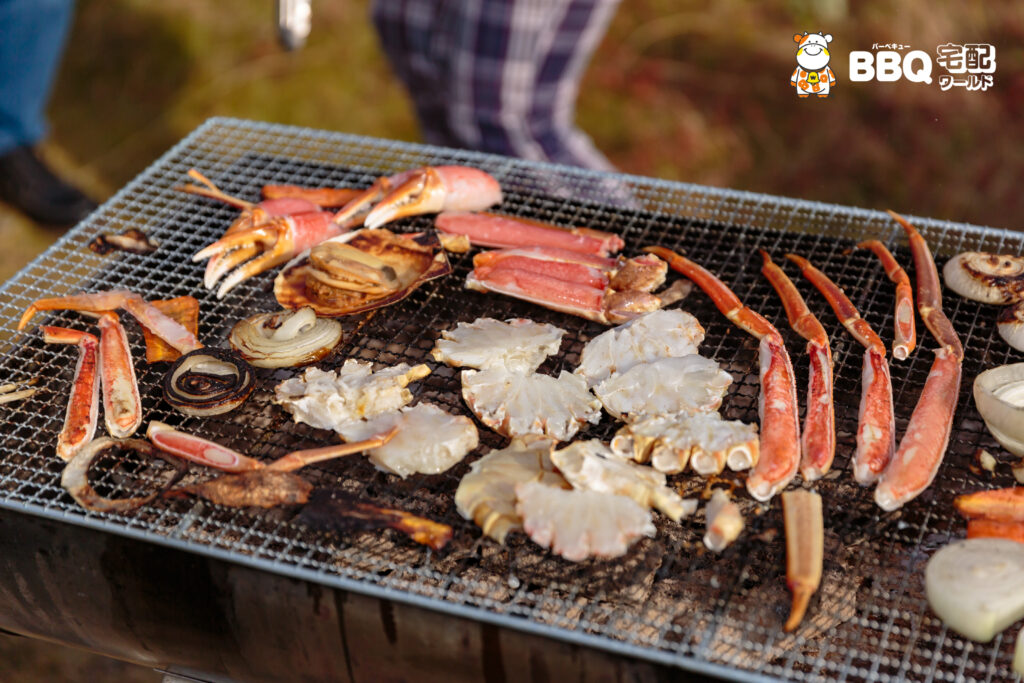 助松公園BBQの蟹やエビ