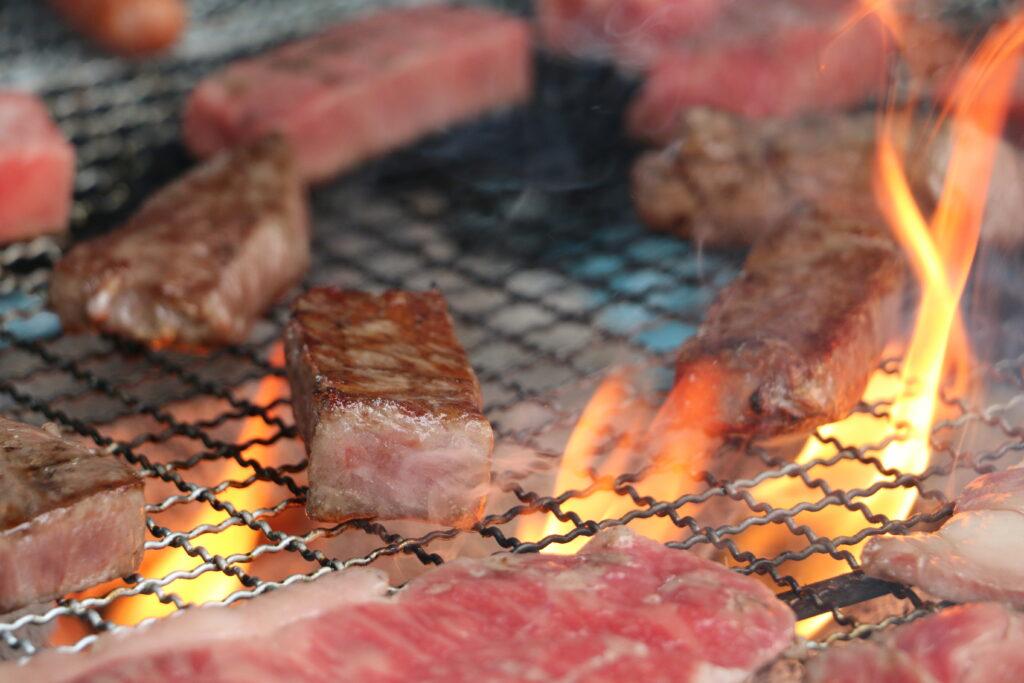 松坂牛をBBQで焼く