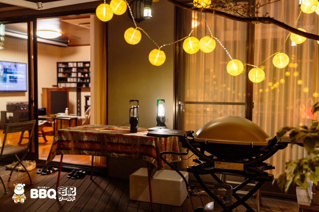 BBQホームパーティー器材レンタルセット設置風景