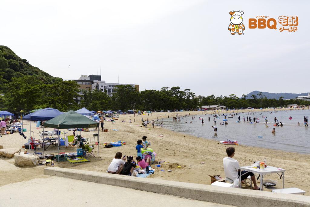 大浜海水浴場の海とBBQ