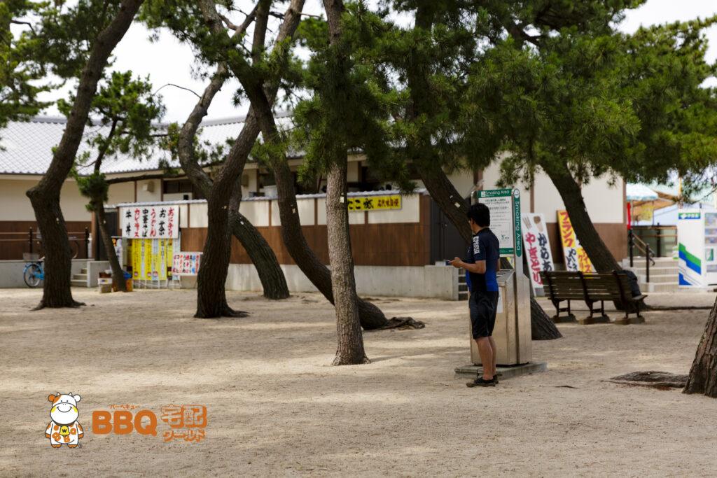 大浜海水浴場の喫煙エリア