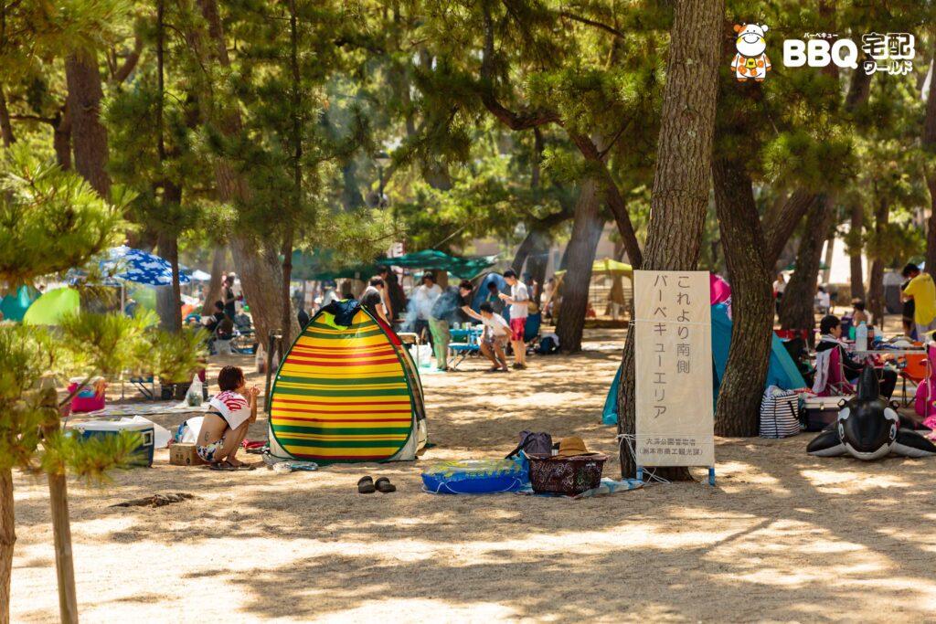 大浜海水浴場のBBQエリア看板