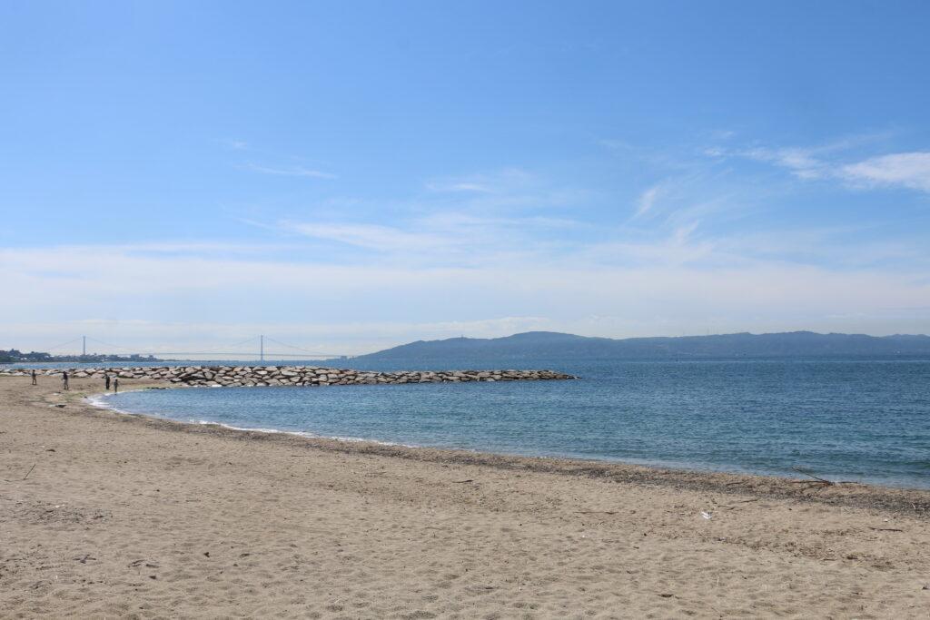 江井ヶ島海岸BBQエリアの砂浜