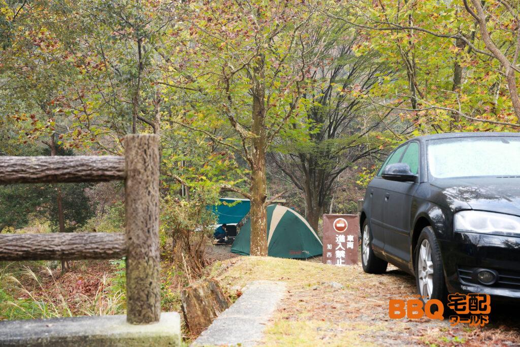 古法華自然公園キャンプ場の車両進入禁止