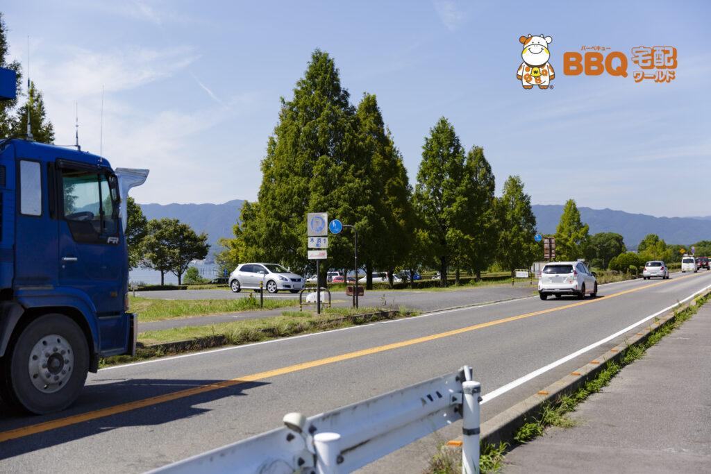湖岸緑地木浜南の駐車場入口