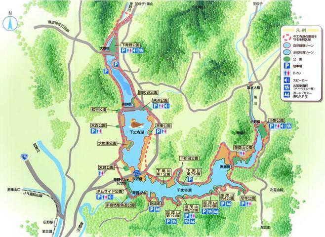 千丈寺湖のBBQ可能な公園の地図