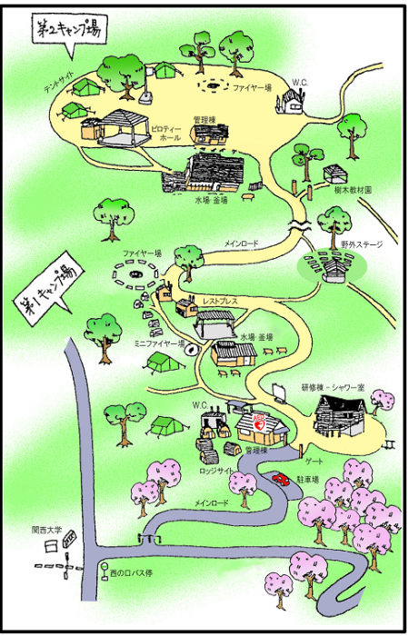 高槻市立摂津峡青少年キャンプ場地図