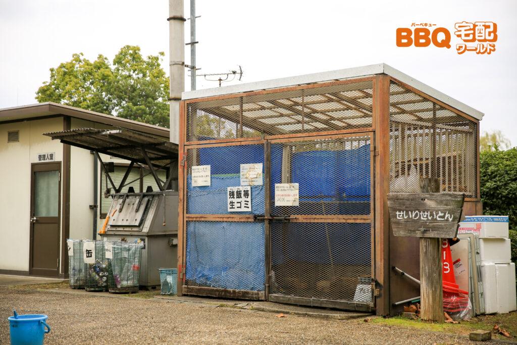 矢橋帰帆島公園BBQ場のゴミ捨て場