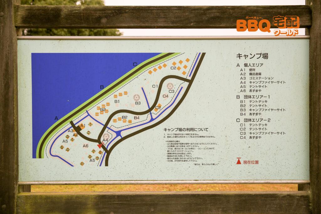 矢橋帰帆島公園BBQ場の地図