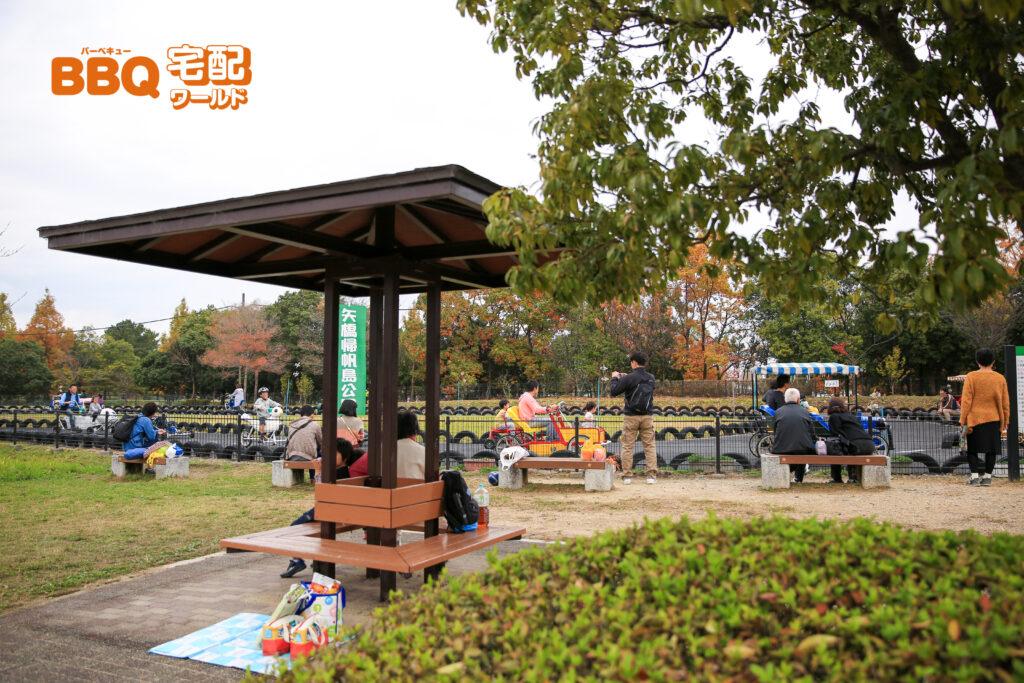 矢橋帰帆島公園の自転車広場