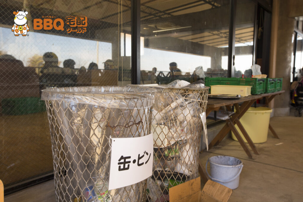 岸和田観光農園のBBQ施設ゴミ箱