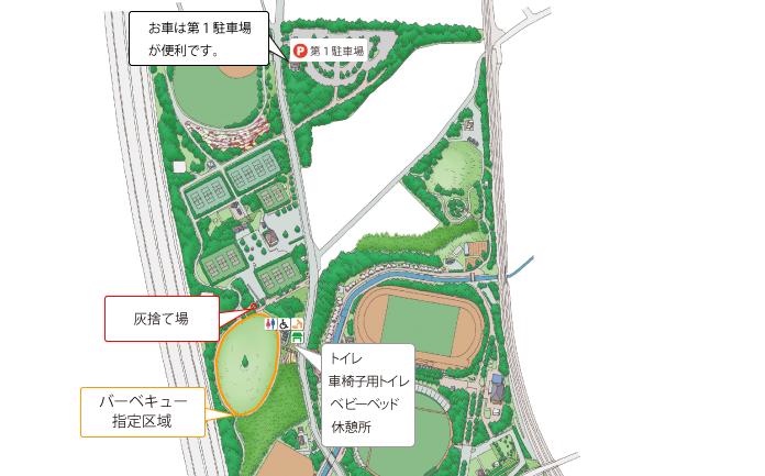 寝屋川公園BBQエリア周辺地図